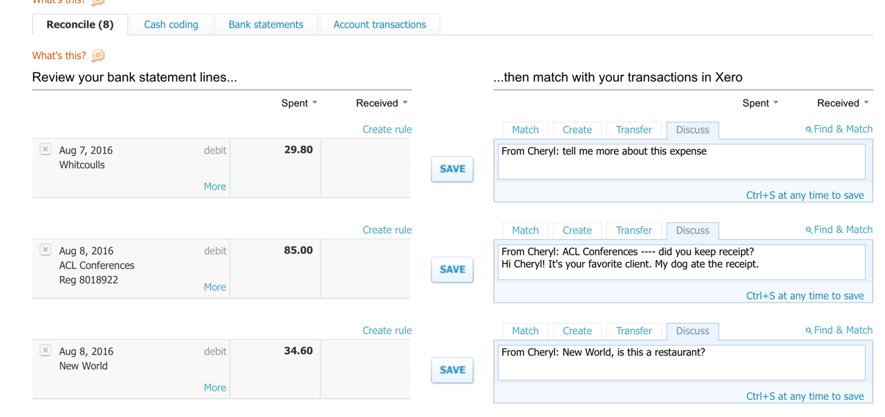 screenshot from xero bookkeeping